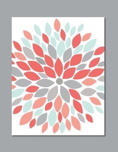 Flower Burst Botanicals Abstract Art Print 11 x by 7WondersDesign, $22.00