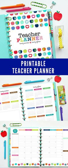 Colorful and useful printable teacher pages to make your own huge planner binder for only $10! Lesson planning, class roster, theme planning, project planner, seating chart, attendance log, parent communication log, 80 different pages perfect for a teach
