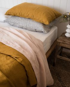 This perfect, rich, earthy mustard is just the right colour to bring life to any room. Naturally hypoallergenic our 100 French flax linen bedding is ideal for sensitive skin. Best Bedding Sets, Bedding Sets Online, Luxury Bedding Sets, Modern Bedding, Comforter Sets, Neutral Bed Linen, Black Bed Linen, Mustard Bedding, Earthy Home Decor