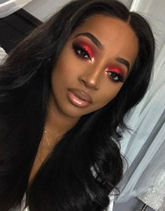 Gorgeous Makeup: Tips and Tricks With Eye Makeup and Eyeshadow – Makeup Design Ideas Red Makeup Looks, Red Eye Makeup, Black Girl Makeup, Dark Skin Makeup, Prom Makeup, Girls Makeup, Hair Makeup, Makeup Black Women, Black Makeup Styles