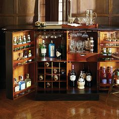 crosley furniture newport expandable bar cabinet in vintage mahogany finish