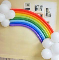 Lot de ballons arc-en-ciel et nuages rainbow & clouds parfaits pour un mariage, anniversaire, baptême ou fête thème arc-en-ciel, rainbow... : Décoration d'intérieur par souvenirs-intemporels