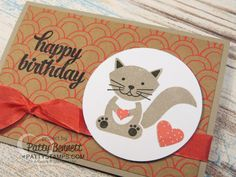 Foxy friends stamp set birthday card featuring kitty cat image and Shine On… Cat Cards, Kids Cards, Greeting Cards, Foxy Friends Punch, Stampin Up Catalog, Stamping Up Cards, Animal Cards, Cards For Friends, Tampons