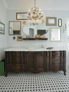 large old dresser turned into a vanity with a white vintage and shabby chic vanities for your bathroom how to make a dresser into a bathroom vanity Vanity Shabby Chic, Baños Shabby Chic, Vintage Dressers, Old Dressers, Bad Inspiration, Bathroom Inspiration, Bathroom Ideas, Bathroom Organization, Bath Ideas
