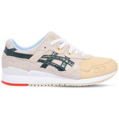 Asics Men Gel Lyte Iii Leather & Suede Sneakers ($195) ❤ liked on Polyvore featuring men's fashion, men's shoes, men's sneakers, beige, asics mens shoes, mens shoes, mens rubber sole shoes, mens leather shoes and mens suede shoes