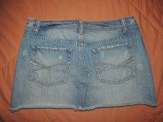 Aeropostale Women's Fringed Hemline 5 PKT Denim Blue Jeans Skirt Size 1/2…