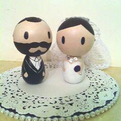 DIY cake topper I made to look like me and Jon!