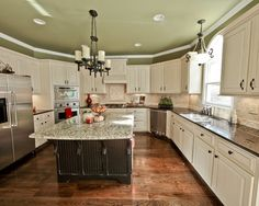 Kitchens With White Cabinets And Green Walls veridian greenolympic paints for lowes | paint colors