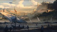 "Sailors Coast – by Darek Zabrocki ""Progress and tradition need not fight. At least most can hope, for they are suspended between the two, Resting atop them like pillars, Hoping not to fall, To be crushed beneath. Futuristic Art, Futuristic Architecture, Environment Concept, Environment Design, Landscape Concept, Sword And Sorcery, Sci Fi Fantasy, Concept Art, Scenery"