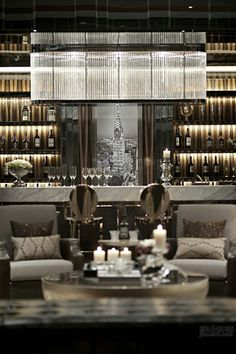 So try to brighten up your home decoration with art deco lighting. When it comes to interior design ideas, changing your home lamps in your bedroom Bar Lounge, Design Lounge, Bar Design, Lobby Lounge, Bar Furniture, Design Furniture, Modern Furniture, Luxury Bar, Bar Interior