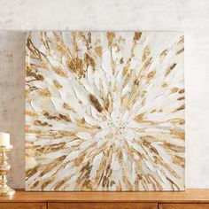 Go glam with the bold style of our hand-painted wall art featuring a fresh bloom and a bit of gold. With it's light and elegantly eye-catching look, it's perfect for any space, from the living room to the bathroom. Home Wall Art, Home Art, Small Condo Decorating, Gold Canvas, Golden Flower, Unique Wall Art, Leaf Art, Wall Decor, Hand Painted