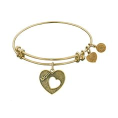 Antique Stipple Finish Brass Heart With Mom Open Heart Angelica Bangle 7.25 Inches Adjustable