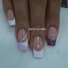 Diy Acrylic Nails, Different Nail Designs, Elegant Nails, Gold Nails, Manicure And Pedicure, Trendy Nails, Hair Beauty, Nail Art, White Nail Beds