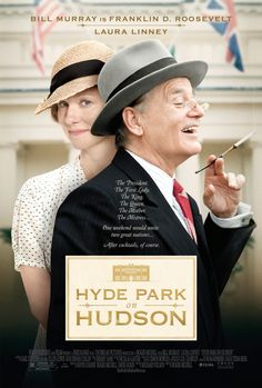 """""""During the first-ever visit of a reigning British monarch to America, international affairs must be juggled with the complexities of FDR's domestic establishment, as wife, mother, and mistresses all conspire to make the royal trip an unforgettable one."""" Bill Murray and Laura Linney star in HYDE PARK ON HUDSON: http://highlandpark.bibliocommons.com/item/show/2231406035_hyde_park_on_hudson"""