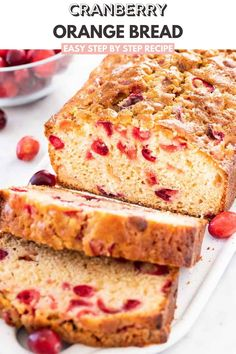 Cranberry Orange Bread is easy and quick to make from scratch and keeps fresh for days! This moist cranberry bread is perfect for the holidays and is bursting with flavor. Cranberry Recipes Baking, Easy Baking Recipes, Dried Cranberry Nut Bread Recipe, Holiday Recipes, Cake Recipes, Cranberry Orange Bread, Cranberry Muffins, Recipe Using Cranberries, Dried Cranberries