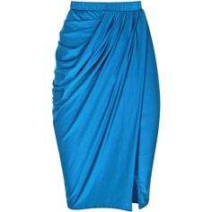 HMH Couture Teal Blue Draped pencil Skirt ($75) ❤ liked on Polyvore
