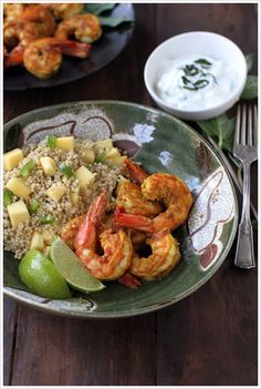Curry Shrimp with Spicy Mango Quinoa  by dashofeast: With Thai basil yogurt dip! #Shrimp_Curry #Quinoa #Mango_Quinoa #dashofeast
