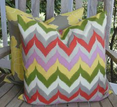 Outdoor Pillow Cover:  Chevron Indoor Outdoor 18 X 18 inch Accent Throw Pillow Cover