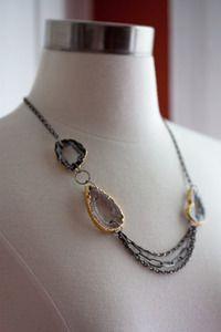 Mixed Metal Asymmetrical Geode Necklace