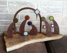 Christmas Nativity Scene made from Metal Set In a by LANDDelements