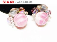 Pink Art Glass Earrings - Frosted and Crystal Beads - Vintage Cottage Chic Jewelry by thejewelseeker on Etsy https://www.etsy.com/listing/273307846/pink-art-glass-earrings-frosted-and