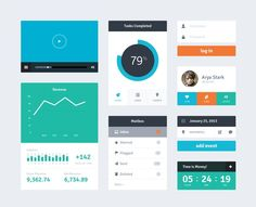 Dashboard elements. Flat ui #flat #simple #color #date #graph #player #circle #progress