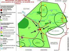 Schéma d'organisation spatiale régionale de Midi-Pyrénées. Source: © HISTGEOGRAPHIE.COM, d'après Géoportail, Parcs régionaux de France