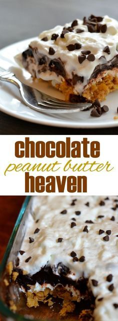 """Chocolate Peanut Butter No Bake Dessert.This easy, no bake dessert truly tastes like heaven. Layers of peanut butter """"crunch,"""" sweetened cream cheese, and dark chocolate pudding, topped with whipped topping and mini chocolate chips. 13 Desserts, Easy Summer Desserts, Brownie Desserts, Easy No Bake Desserts, Delicious Desserts, Yummy Food, Baking Desserts, Pudding Desserts, French Desserts"""