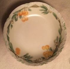 "Two Antique HAVILAND Dessert bowls with raised and scalloped rims orange blossoms. Marked ""Haviland France"" 5.5"" diam Always Negotiable by Curioshop1 on Etsy"