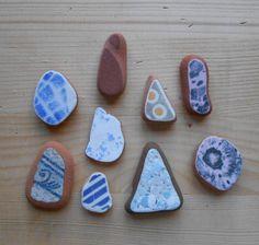 Sea pottery, mix di colori e disegni per creazioni di gioielleria. 9 pezzi, marmorizzato rosa, celeste, fantasia giallo grigio, lotto 83 by lepropostedimari on Etsy