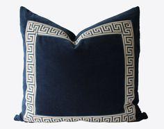 Decorative Greek Key Trim Navy Blue Velvet by MakingFabulous, $62.00