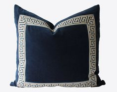Decorative Greek Key Pillow, Navy Blue Velvet, Chinoiserie Pillow, 22x22, 24x24, 26x26, Throw Pillow