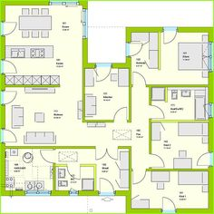massa haus massa bungalow comfortstyle 14 01 P EG Beach House Plans, Dream House Plans, The Plan, How To Plan, Bungalow Floor Plans, European House Plans, Diy Projects For Beginners, House Blueprints, Two Story Homes