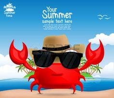 cangrejo caricatura: Fondo del verano con un cangrejo lindo de la historieta
