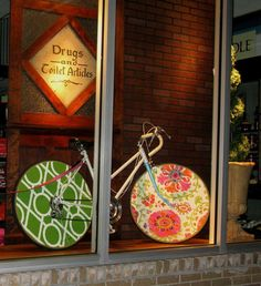 Loris Drug Store Window Display Bicycle Fabric