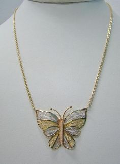 "14K YELLOW GOLD TRI COLOR GOLD 1"" X 1.40"" FILIGREE BUTTERFLY 17"" NECKLACE 5.9g #Pendant Diy Jewelry Necklace, Shell Jewelry, Boho Jewelry, Jewelry Sets, Silver Jewelry, Jewelry Accessories, Fine Jewelry, Silver Rings, Gold Necklaces"