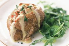 Add a gourmet topping to traditional baked potatoes with crispy bacon and creamy cheese. Creamed Potatoes, Baked Potatoes, Blue Cheese Recipes, Creamy Cheese, Budget Meals, Budget Recipes, Air Fryer Recipes, Tray Bakes, Bacon