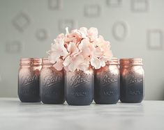 Set of 6 Navy Blue and Rose Gold Wedding Vases, Painted Mason Jar Centerpieces, Ombre Jars