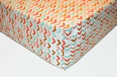 Metallic Gold Arrows Crib Sheet  Coral Mint by SprinkledWithKisses