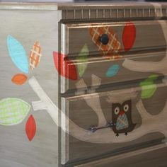 Hand painted dresser with owls! Great for a nursery! Woodsy Nursery, Owl Nursery, Themed Nursery, Nursery Bedding, Whimsical Nursery, Painted Furniture, Diy Furniture, Nursery Furniture, Nursery Dresser