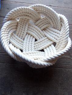 Nautical Decor Cotton Rope Bowl Basket 10 x 5 by AlaskaRugCompany