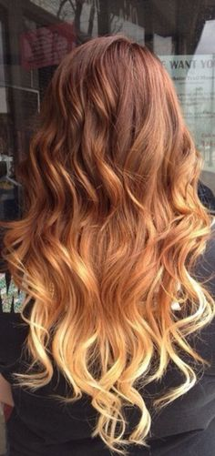 Brown blond orange red / dip die / long hair