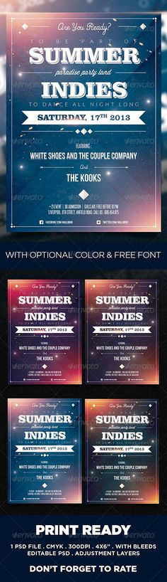 Summer Indies Party Poster Template - Clubs & Parties Events