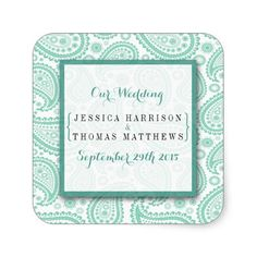 Simple yet elegant, the modern paisley wedding collection is a stunning design featuring a lovely paisley print in a soft green and white color, which is perfect for any modern wedding celebration. <br> <br> These stickers can be personalized for your special occasion and would make the perfect invitation seal, favor or thank you sticker for your wedding, bridal shower, engagement party, birthday party and many more special occasions. <br> <br> Add your custom wording to this design by using…
