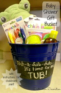 Instructions for how to assemble a bath bucket: a perfect gift for a baby shower.  Includes directions for how to make chalkboard paint.
