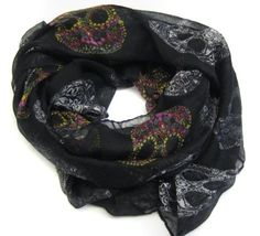Carefree Ultra Soft Light Suger Skulls Scarf Colorful by Cozyline $12.99