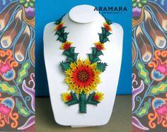 Mexicana Huichol con cuentas naranja flor collar CFG-0041 Huichol - México collar - joyería mexicana - collar de Huichol - Huichol beadwork