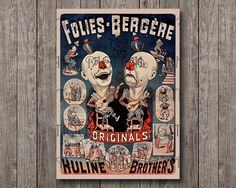 Cabaret vintage Poster Huline Brothers Folies by AntiqueArtDigital