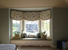 Window Treatments - eclectic - Curtains - Milwaukee - Dawn Klauck at Collaborative ---- Possible bay window treatment for the Office Eclectic Curtains, Living Room Decor Curtains, Home Curtains, Hanging Curtains, Curtains With Blinds, Valance Curtains, Bay Window Treatments, Window Coverings, Blue Drapes