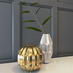 """W- large brass/ gold vase- to use on dining table as needed...scale approx: 12"""" tall. Finish: see note """"L"""" brass."""